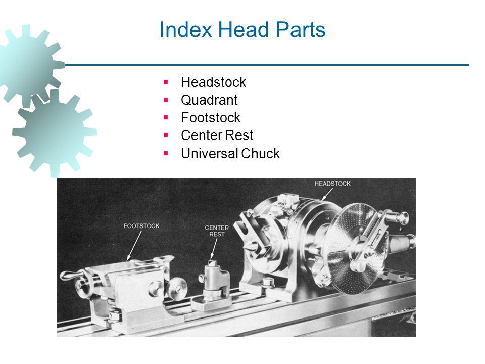 Index Head Parts  Headstock  Quadrant  Footstock  Center Rest  Universal Chuck