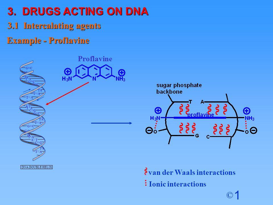 1 © Proflavine van der Waals interactions Ionic interactions 3. DRUGS ACTING ON DNA 3.1 Intercalating agents Example - Proflavine