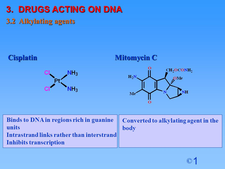 1 © Binds to DNA in regions rich in guanine units Intrastrand links rather than interstrand Inhibits transcription Converted to alkylating agent in th