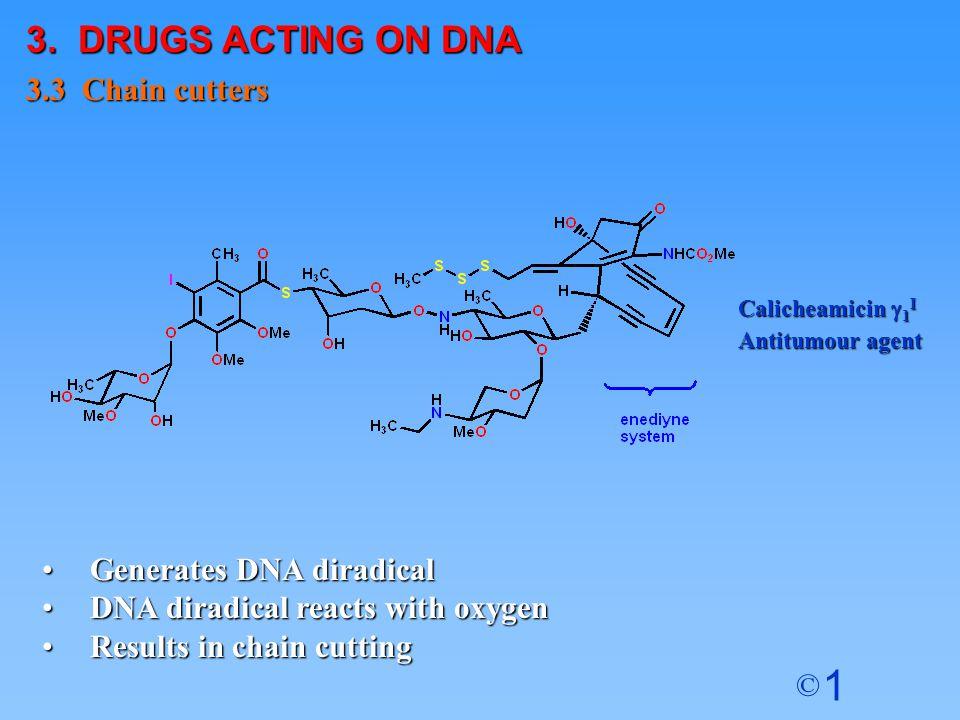 1 © Generates DNA diradicalGenerates DNA diradical DNA diradical reacts with oxygenDNA diradical reacts with oxygen Results in chain cuttingResults in