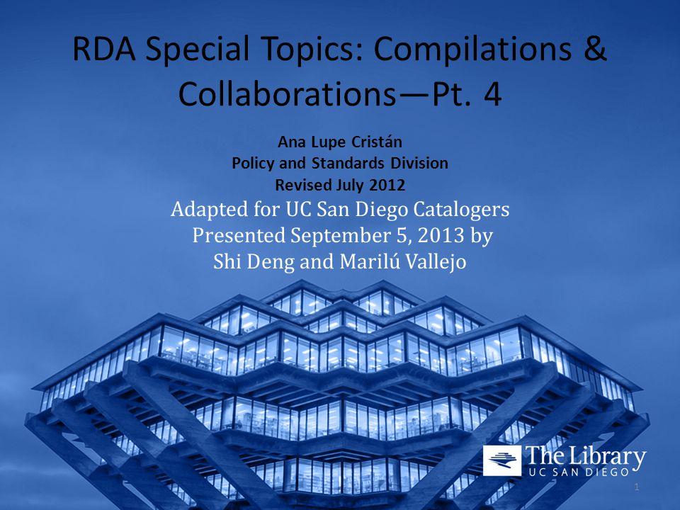 RDA Special Topics: Compilations & Collaborations—Pt.