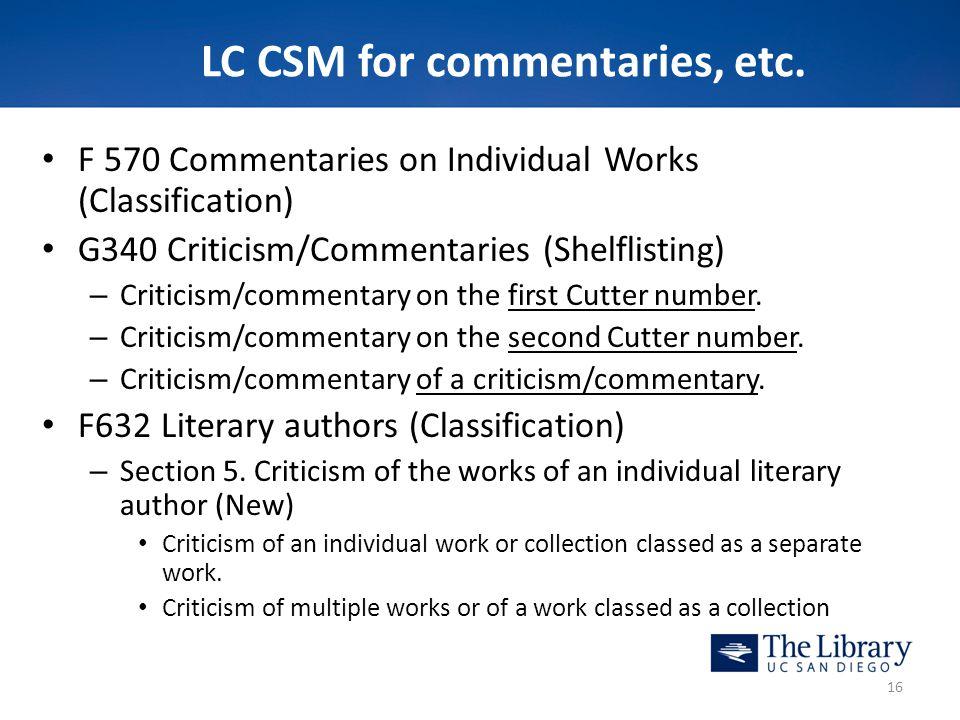 LC CSM for commentaries, etc.
