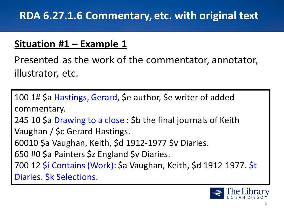 RDA 6.27.1.6 Commentary, etc.