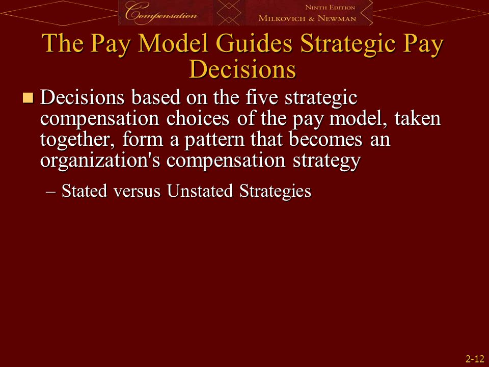 2-12 The Pay Model Guides Strategic Pay Decisions Decisions based on the five strategic compensation choices of the pay model, taken together, form a pattern that becomes an organization s compensation strategy Decisions based on the five strategic compensation choices of the pay model, taken together, form a pattern that becomes an organization s compensation strategy –Stated versus Unstated Strategies