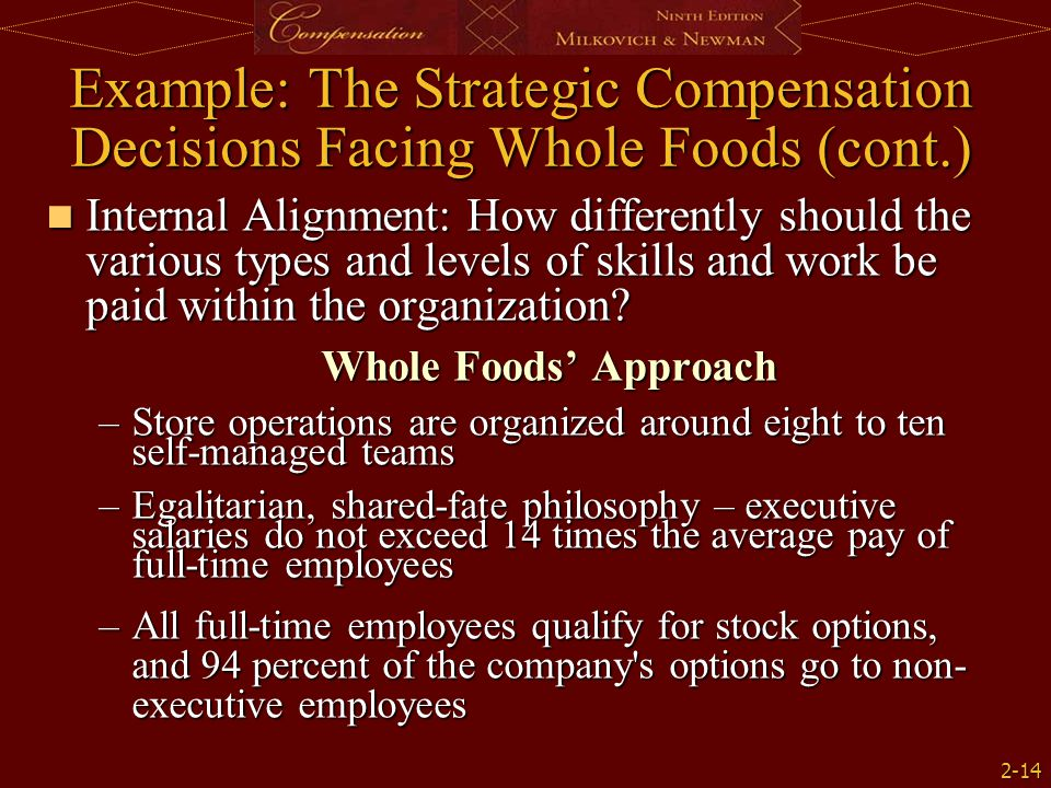 2-14 Example: The Strategic Compensation Decisions Facing Whole Foods (cont.) Internal Alignment: How differently should the various types and levels of skills and work be paid within the organization.