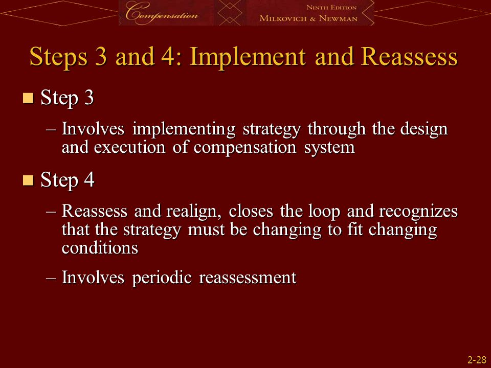 2-28 Steps 3 and 4: Implement and Reassess Step 3 Step 3 –Involves implementing strategy through the design and execution of compensation system Step