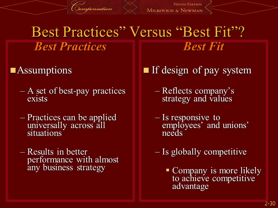 "2-30 Best Practices"" Versus ""Best Fit""? Best Fit If design of pay system If design of pay system –Reflects company's strategy and values –Is responsiv"