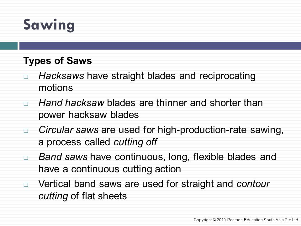 Types of Saws  Hacksaws have straight blades and reciprocating motions  Hand hacksaw blades are thinner and shorter than power hacksaw blades  Circular saws are used for high-production-rate sawing, a process called cutting off  Band saws have continuous, long, flexible blades and have a continuous cutting action  Vertical band saws are used for straight and contour cutting of flat sheets Copyright © 2010 Pearson Education South Asia Pte Ltd Sawing