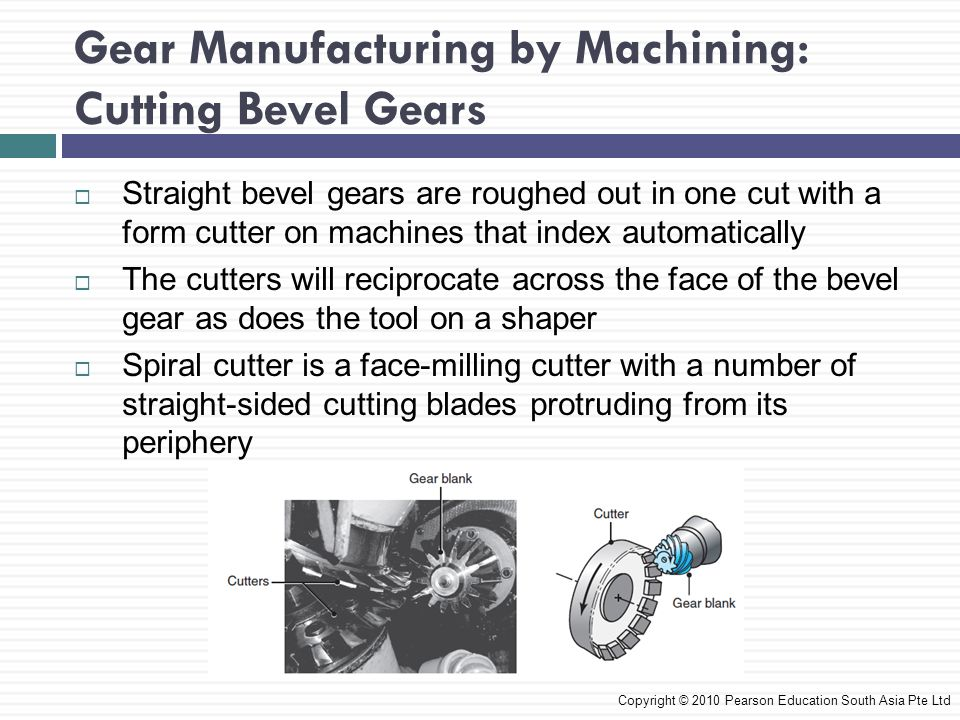  Straight bevel gears are roughed out in one cut with a form cutter on machines that index automatically  The cutters will reciprocate across the face of the bevel gear as does the tool on a shaper  Spiral cutter is a face-milling cutter with a number of straight-sided cutting blades protruding from its periphery Copyright © 2010 Pearson Education South Asia Pte Ltd Gear Manufacturing by Machining: Cutting Bevel Gears