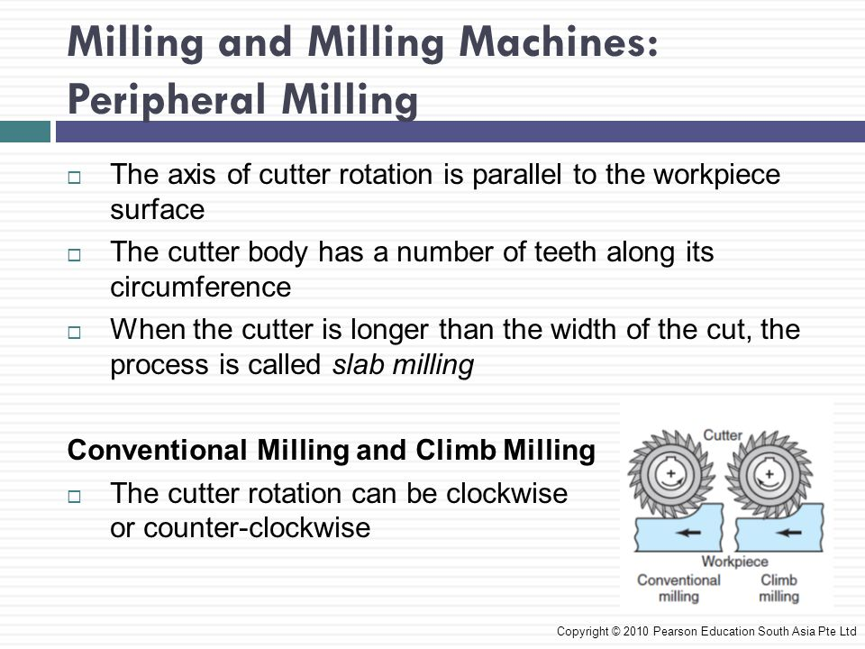 Milling and Milling Machines: Peripheral Milling  The axis of cutter rotation is parallel to the workpiece surface  The cutter body has a number of teeth along its circumference  When the cutter is longer than the width of the cut, the process is called slab milling Conventional Milling and Climb Milling  The cutter rotation can be clockwise or counter-clockwise Copyright © 2010 Pearson Education South Asia Pte Ltd