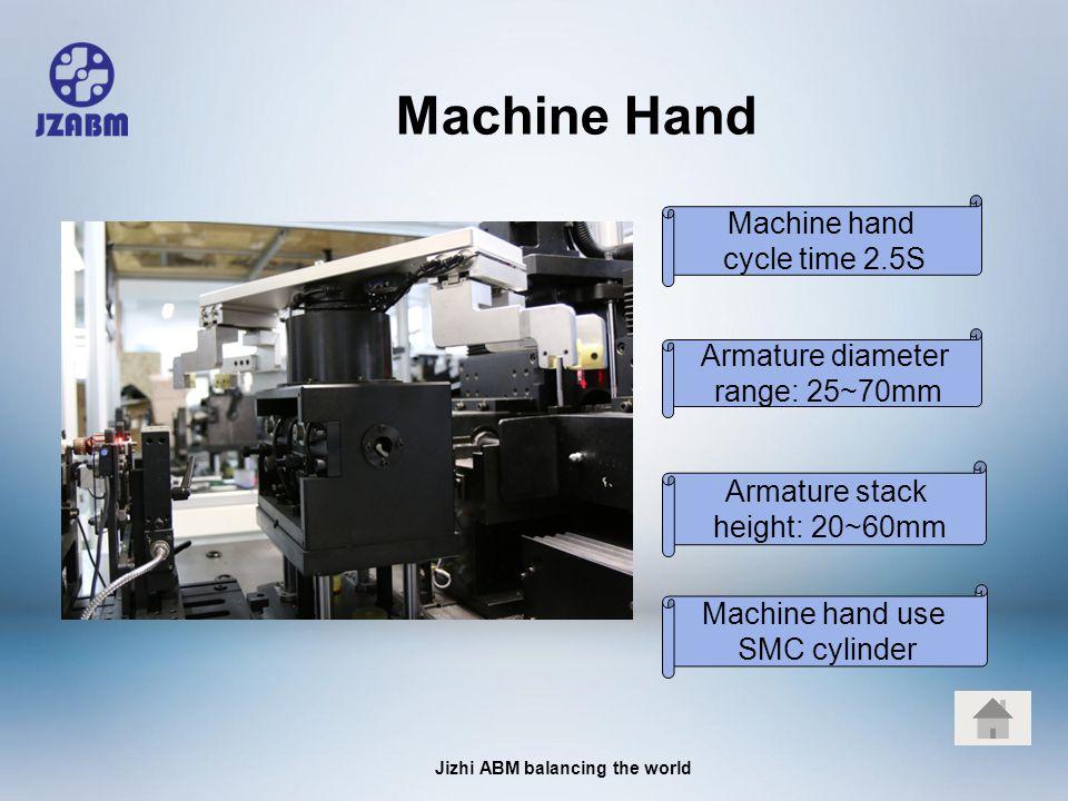 Jizhi ABM balancing the world Machine Hand Machine hand cycle time 2.5S Machine hand use SMC cylinder Armature stack height: 20~60mm Armature diameter range: 25~70mm