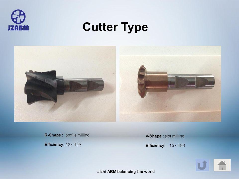Jizhi ABM balancing the world R-Shape : profile milling Efficiency: 12 ~ 15S V-Shape : slot milling Efficiency: 15 ~ 18S Cutter Type