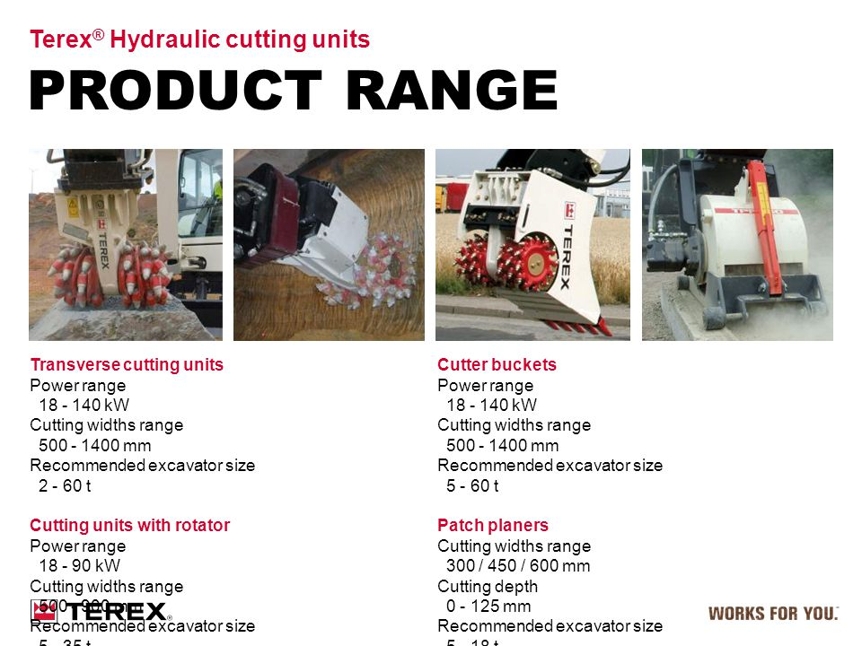 PRODUCT RANGE Terex ® Hydraulic cutting units Cutter buckets Power range 18 - 140 kW Cutting widths range 500 - 1400 mm Recommended excavator size 5 -