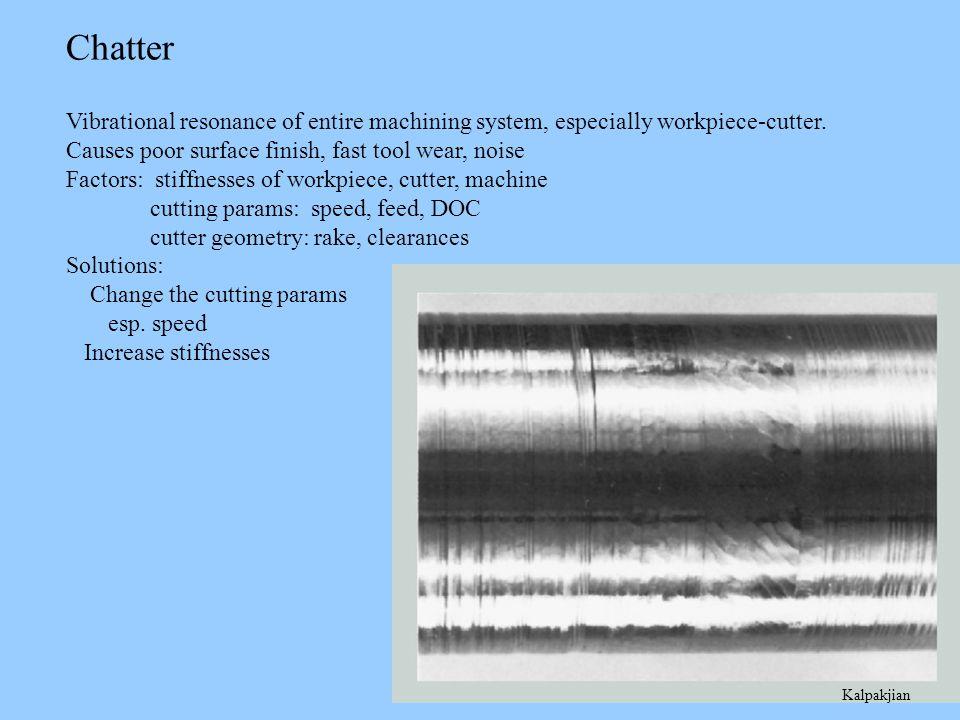 Kalpakjian Chatter Vibrational resonance of entire machining system, especially workpiece-cutter.