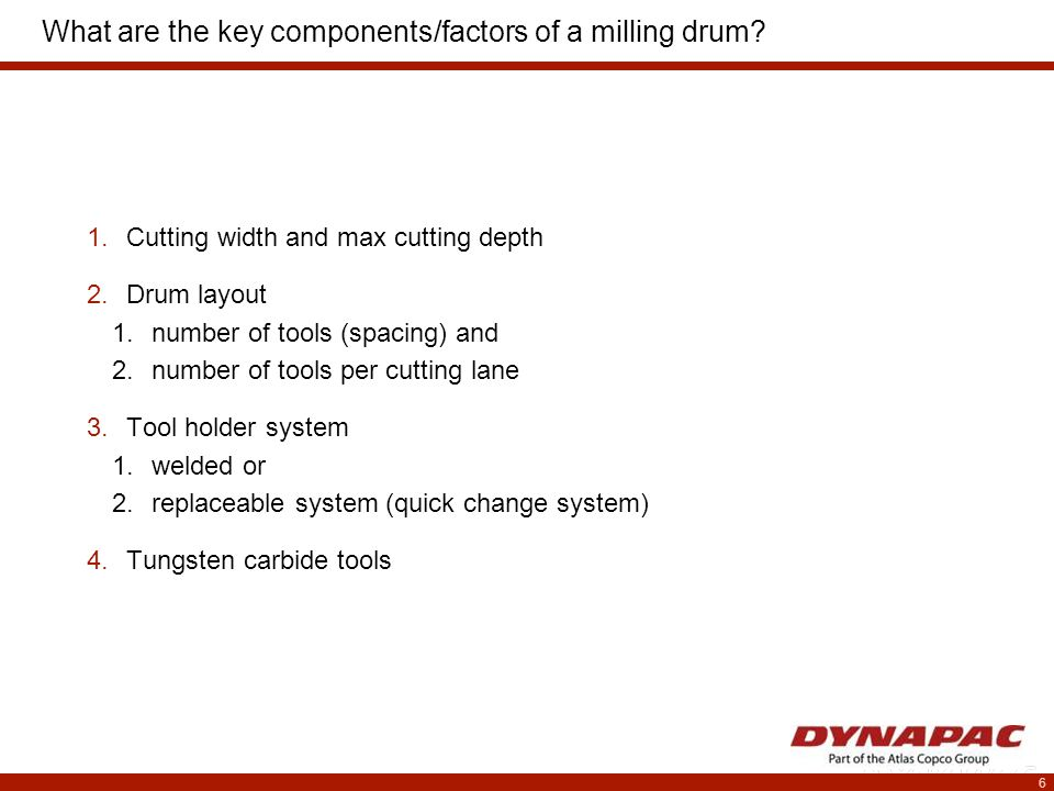 6 What are the key components/factors of a milling drum.