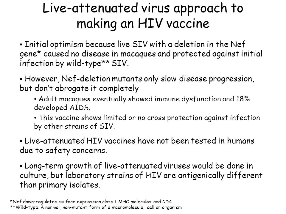 Possible vaccine approaches Induction of antibodies by injection with whole-killed virus or viral proteins.