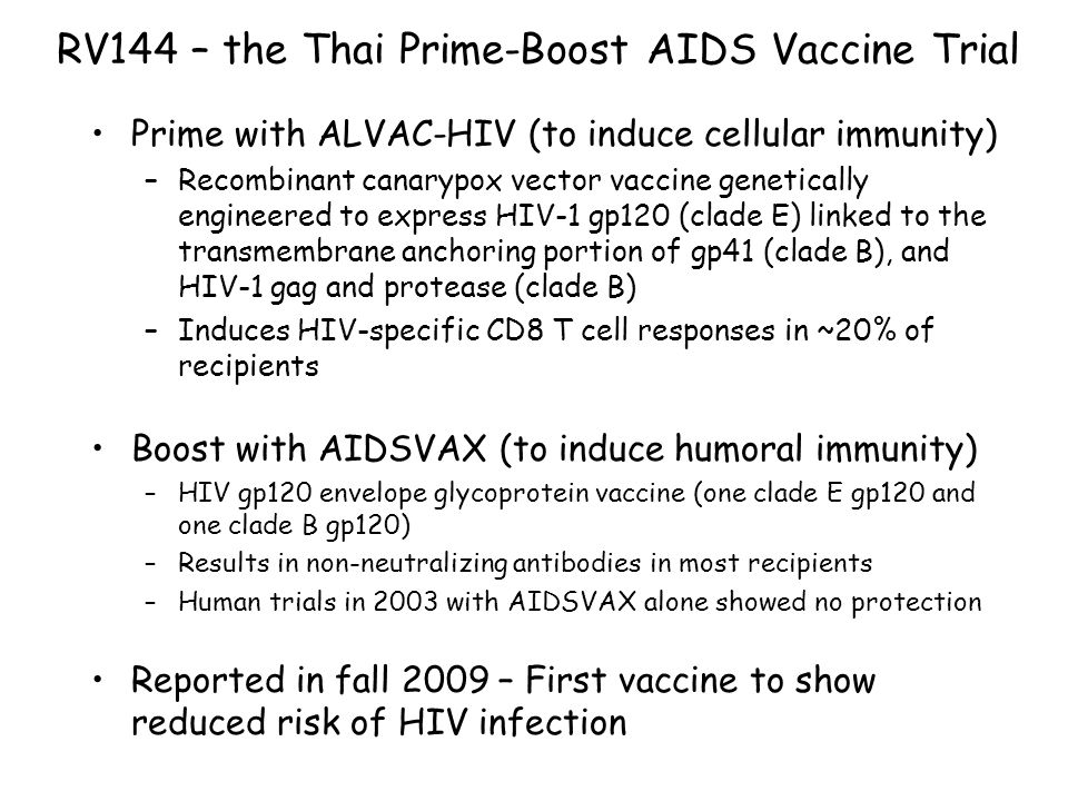 Reported to lower rate of HIV infection by 1/3 16,402 participants (low to moderate risk for HIV infection); 1:1 vaccinated versus placebo (HIV testing every 6 months after vaccination) –74 in placebo group became infected –51 in vaccinated group became infected –31.2% efficiency; 96% confidence level (p < 0.05) HIV replication, CD4 T cell loss same in HIV- infected vaccine and placebo groups RV144 – the Thai Prime-Boost AIDS Vaccine Trial Cost: ~$105,000,000