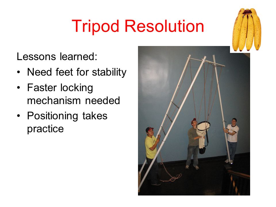 Tripod Resolution Lessons learned: Need feet for stability Faster locking mechanism needed Positioning takes practice