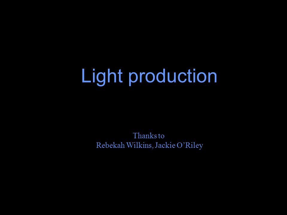 Light production Thanks to Rebekah Wilkins, Jackie O'Riley