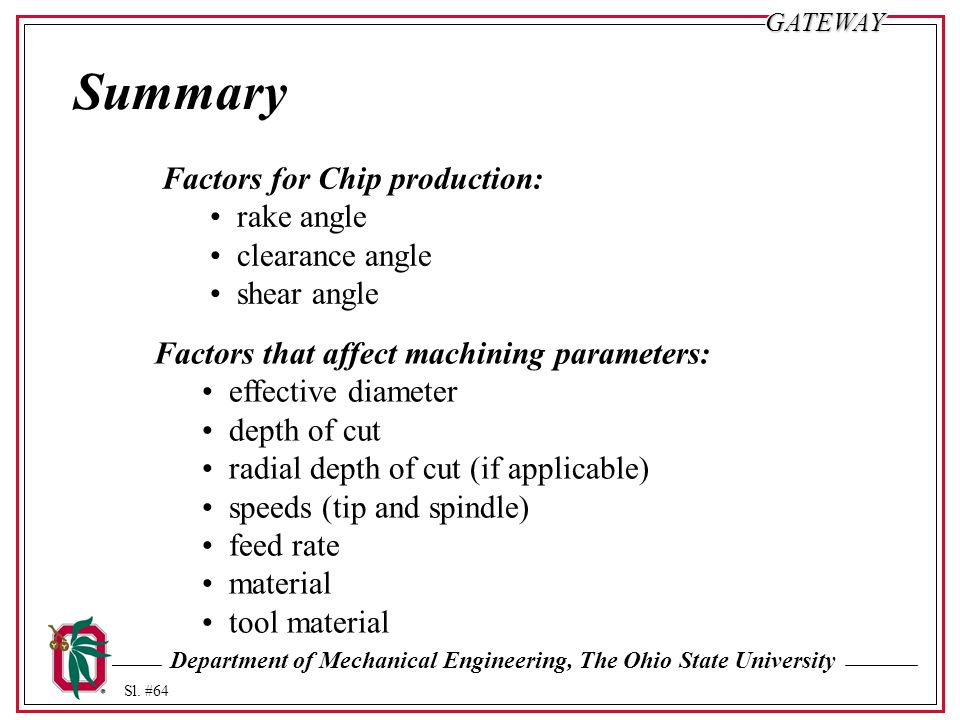 Department of Mechanical Engineering, The Ohio State University Sl. #64GATEWAY Summary Factors for Chip production: rake angle clearance angle shear a