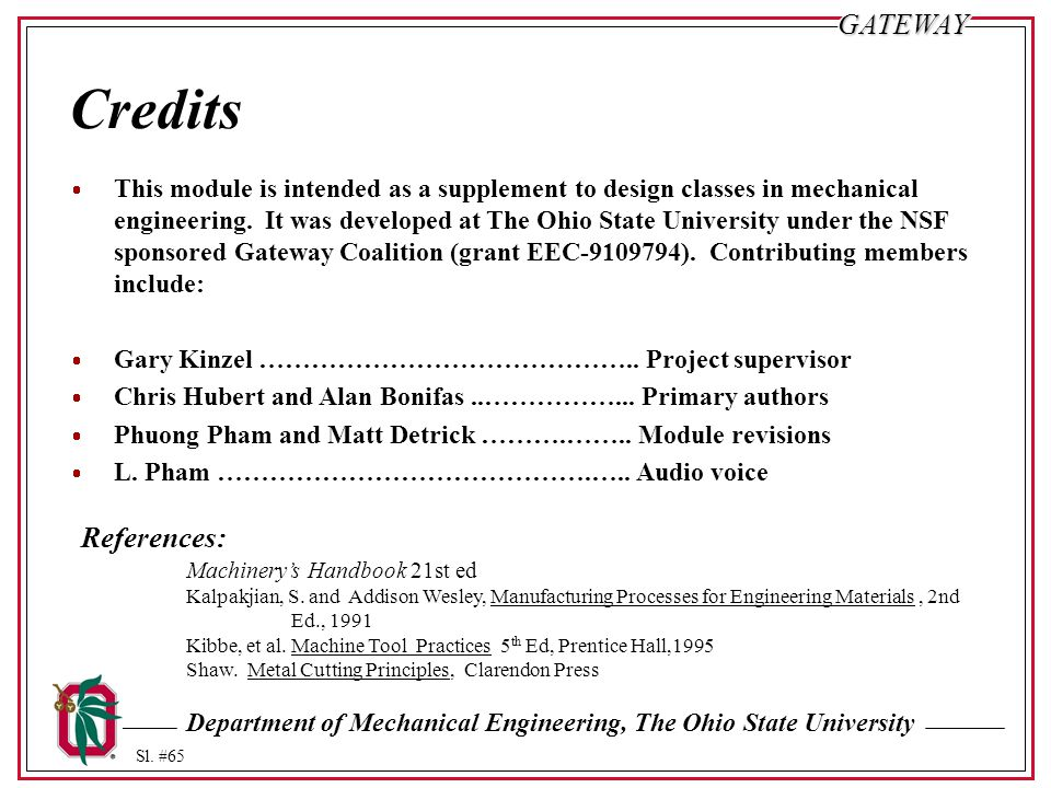 Department of Mechanical Engineering, The Ohio State University Sl. #65GATEWAY Credits  This module is intended as a supplement to design classes in