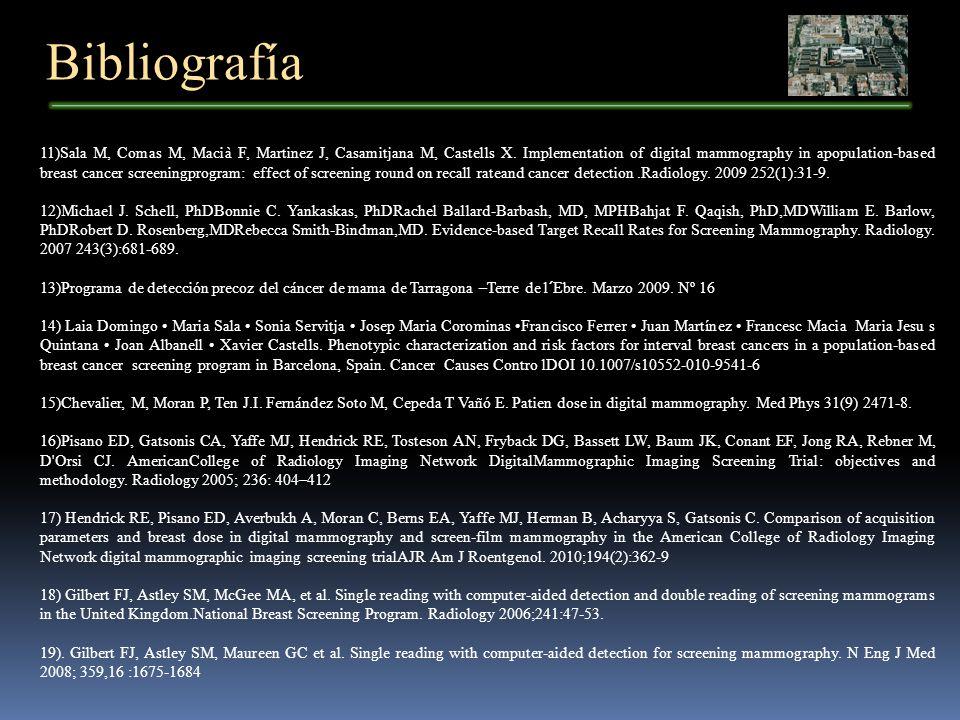 Bibliografía 11)Sala M, Comas M, Macià F, Martinez J, Casamitjana M, Castells X. Implementation of digital mammography in apopulation-based breast can