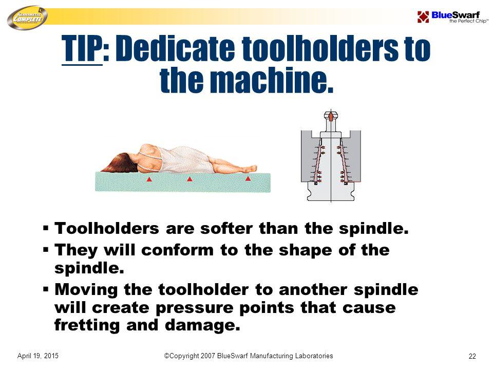 April 19, 2015©Copyright 2007 BlueSwarf Manufacturing Laboratories 22 TIP: Dedicate toolholders to the machine.