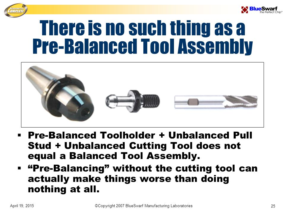 April 19, 2015©Copyright 2007 BlueSwarf Manufacturing Laboratories 25 There is no such thing as a Pre-Balanced Tool Assembly  Pre-Balanced Toolholder