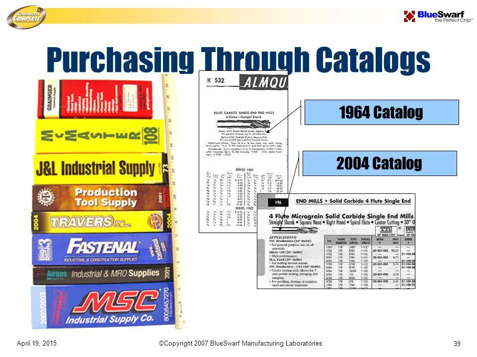 April 19, 2015©Copyright 2007 BlueSwarf Manufacturing Laboratories 39 Purchasing Through Catalogs 1964 Catalog 2004 Catalog