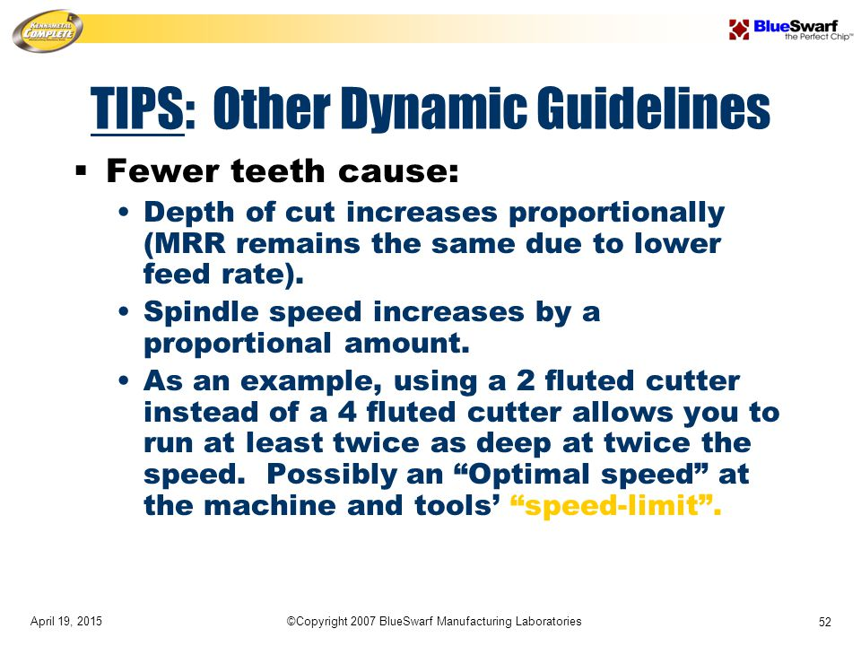 April 19, 2015©Copyright 2007 BlueSwarf Manufacturing Laboratories 52 TIPS: Other Dynamic Guidelines  Fewer teeth cause: Depth of cut increases proportionally (MRR remains the same due to lower feed rate).