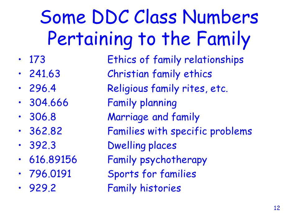 12 Some DDC Class Numbers Pertaining to the Family 173Ethics of family relationships 241.63Christian family ethics 296.4Religious family rites, etc.
