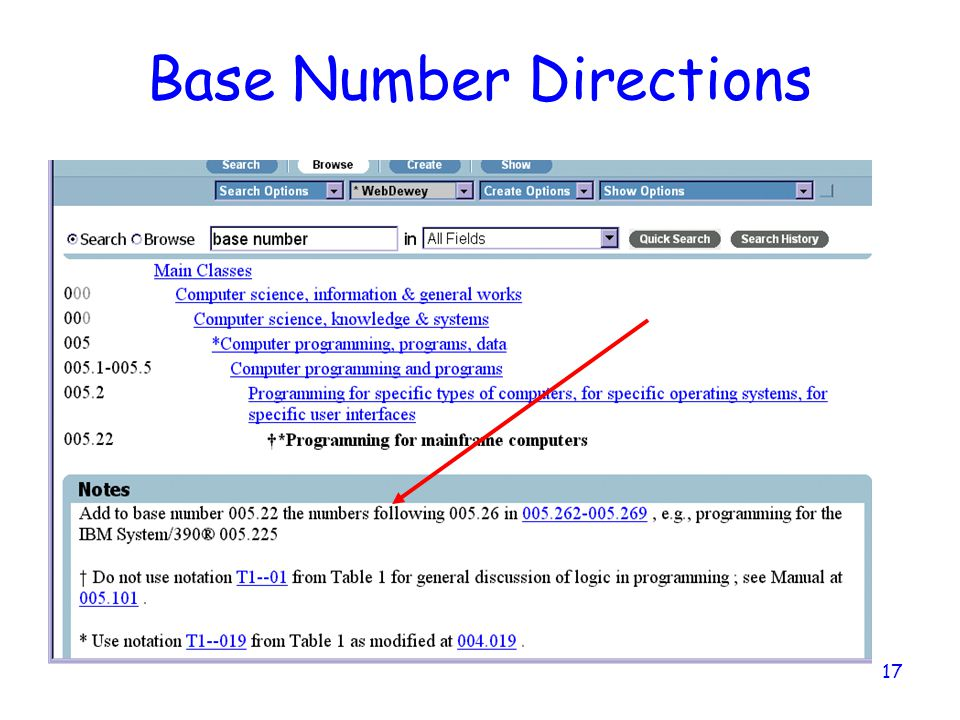 17 Base Number Directions
