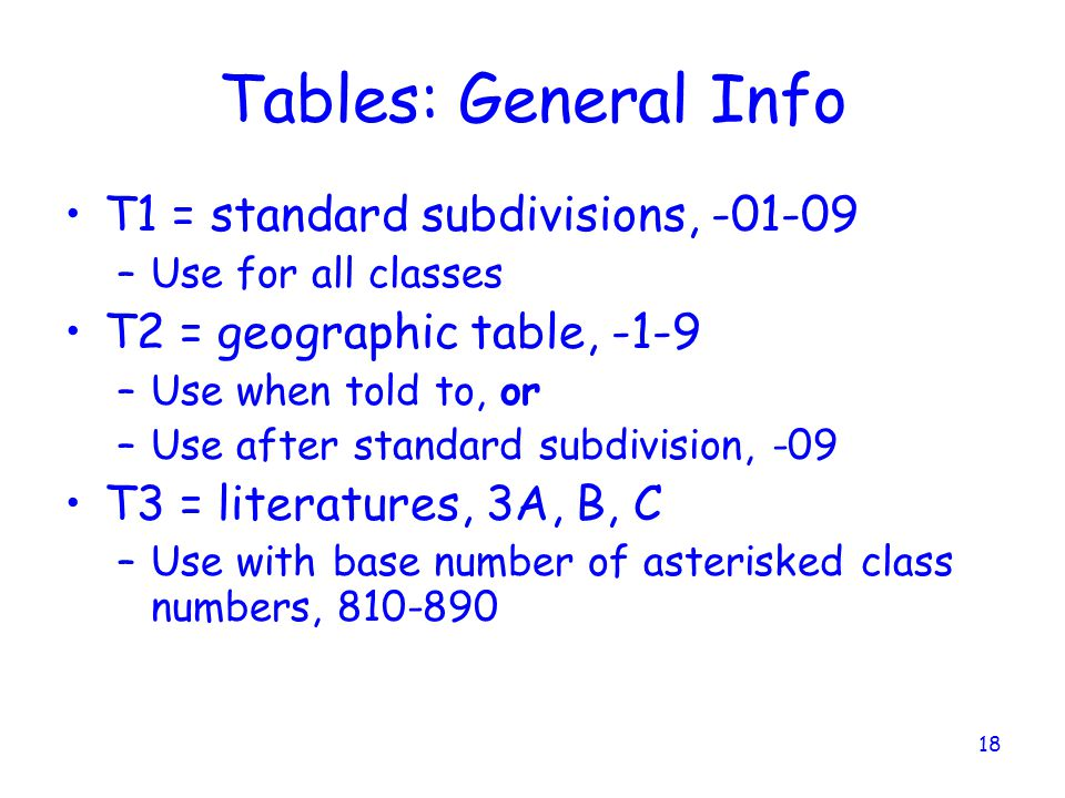 18 Tables: General Info T1 = standard subdivisions, -01-09 –Use for all classes T2 = geographic table, -1-9 –Use when told to, or –Use after standard subdivision, -09 T3 = literatures, 3A, B, C –Use with base number of asterisked class numbers, 810-890