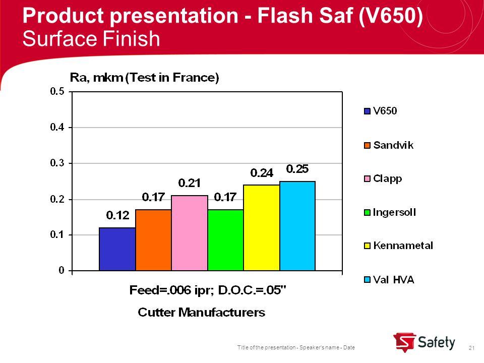 Title of the presentation - Speaker s name - Date 21 Product presentation - Flash Saf (V650) Surface Finish