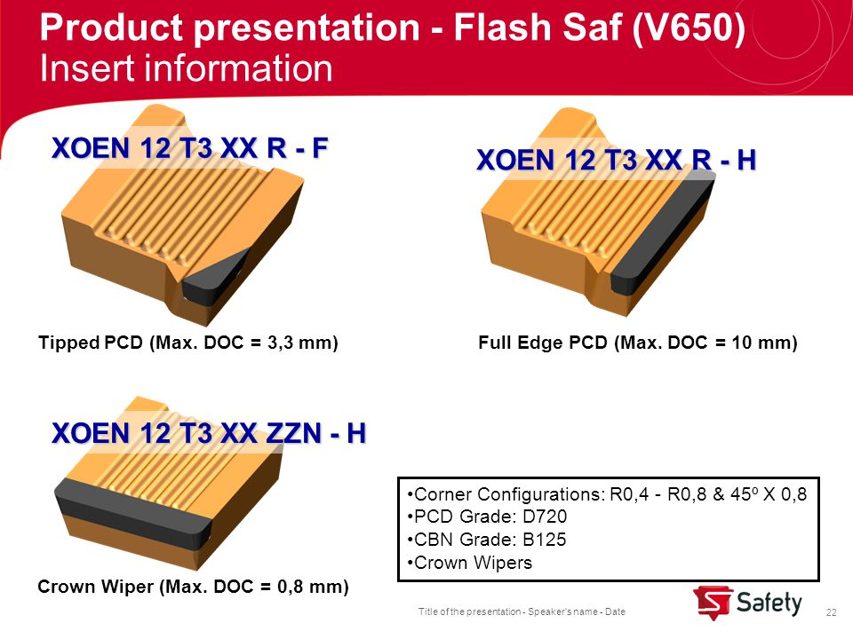 Title of the presentation - Speaker s name - Date 22 XOEN 12 T3 XX R - F XOEN 12 T3 XX R - H XOEN 12 T3 XX ZZN - H Full Edge PCD (Max.