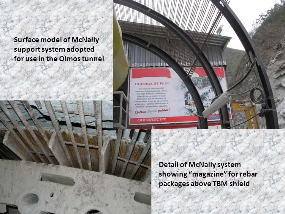 "Surface model of McNally support system adopted for use in the Olmos tunnel Detail of McNally system showing ""magazine"" for rebar packages above TBM s"