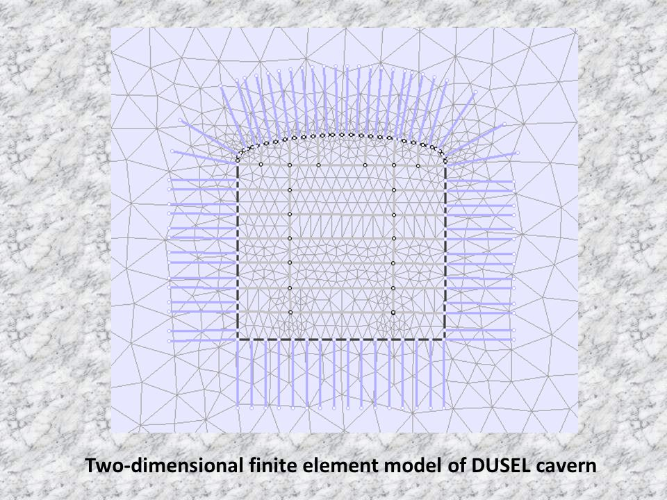 Two-dimensional finite element model of DUSEL cavern