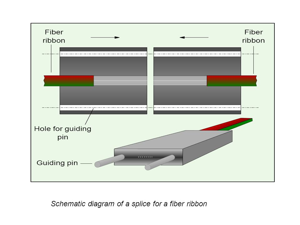Schematic diagram of a splice for a fiber ribbon