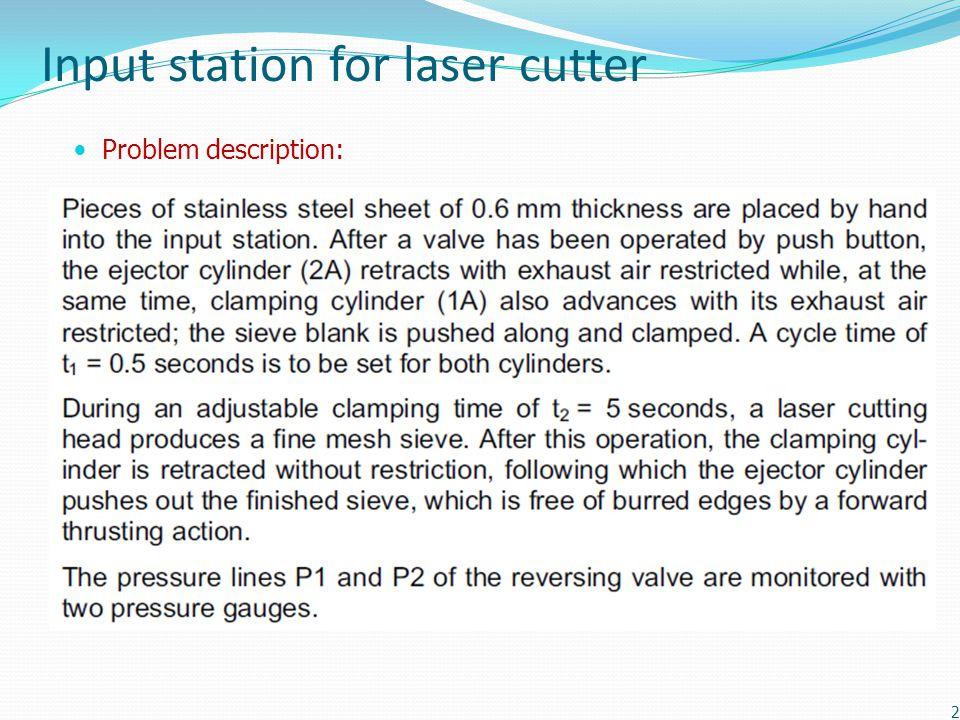 Input station for laser cutter Problem description: 2