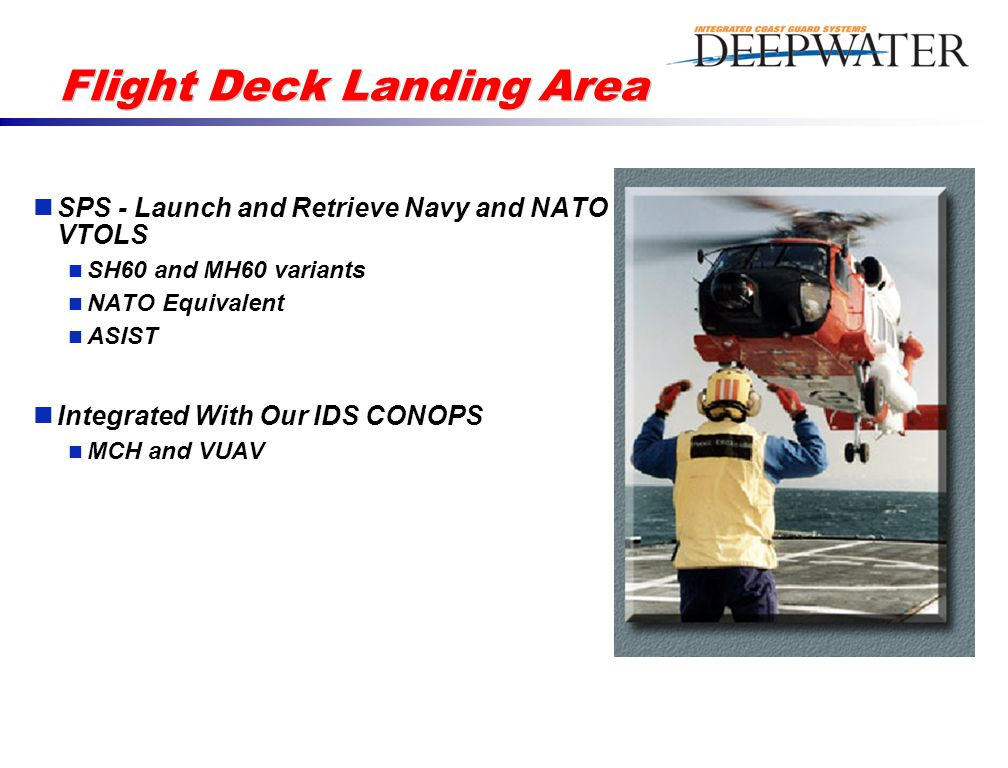 Flight Deck Landing Area SPS - Launch and Retrieve Navy and NATO VTOLS SH60 and MH60 variants NATO Equivalent ASIST Integrated With Our IDS CONOPS MCH and VUAV