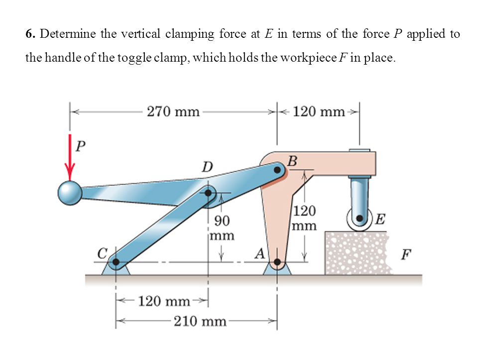 6. Determine the vertical clamping force at E in terms of the force P applied to the handle of the toggle clamp, which holds the workpiece F in place.