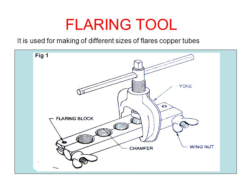 FLARING TOOL It is used for making of different sizes of flares copper tubes