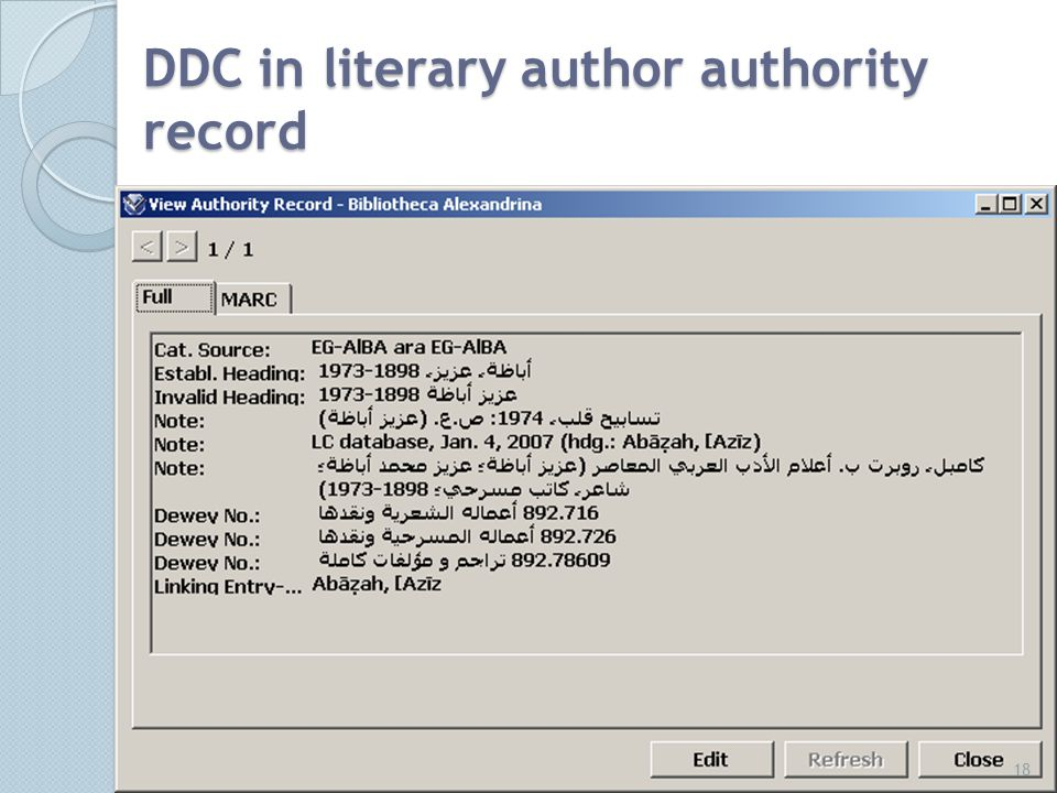 DDC in literary author authority record 18