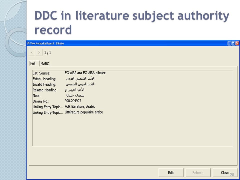 DDC in literature subject authority record 20