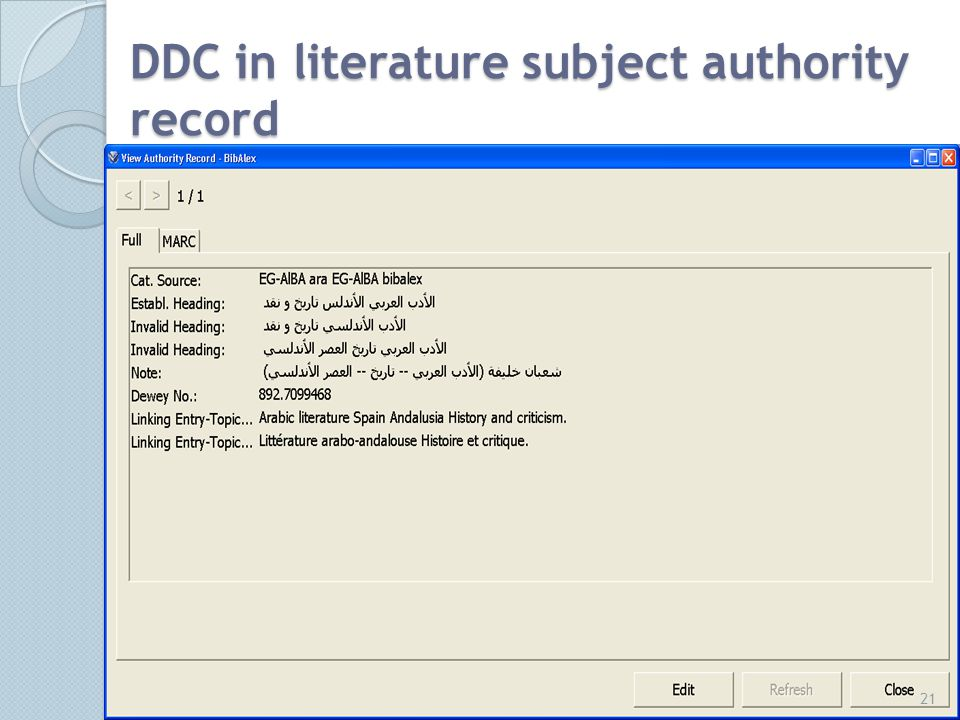 DDC in literature subject authority record 21