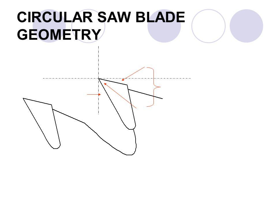 CIRCULAR SAW BLADE GEOMETRY