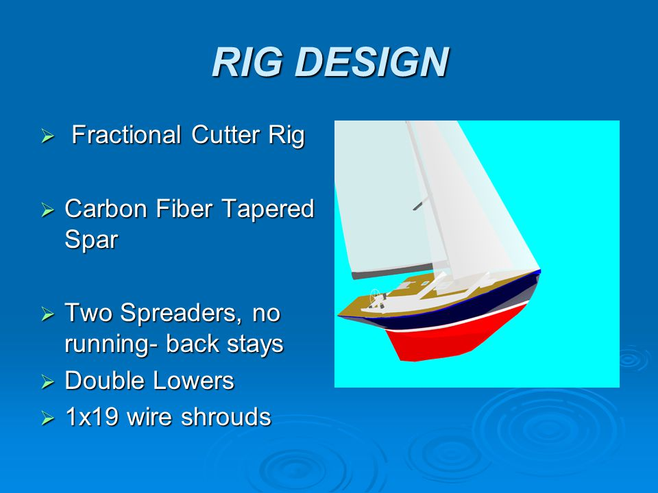 RIG DESIGN  Fractional Cutter Rig  Carbon Fiber Tapered Spar  Two Spreaders, no running- back stays  Double Lowers  1x19 wire shrouds