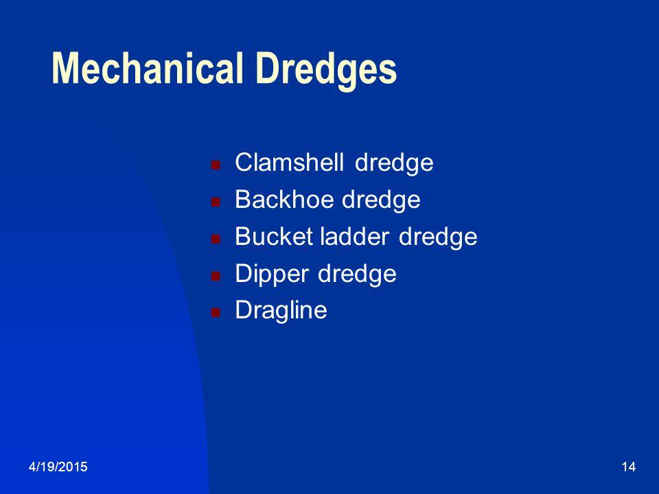 4/19/201514 Mechanical Dredges Clamshell dredge Backhoe dredge Bucket ladder dredge Dipper dredge Dragline