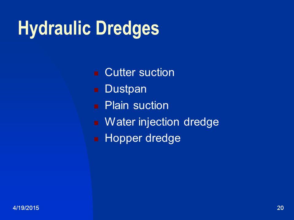 4/19/201520 Hydraulic Dredges Cutter suction Dustpan Plain suction Water injection dredge Hopper dredge