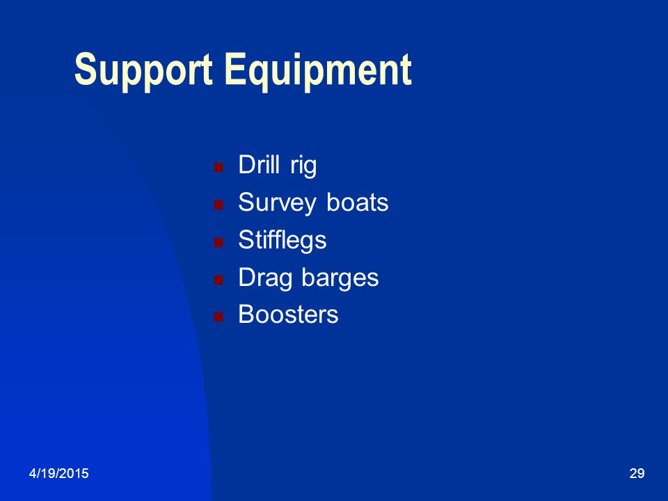 4/19/201529 Support Equipment Drill rig Survey boats Stifflegs Drag barges Boosters